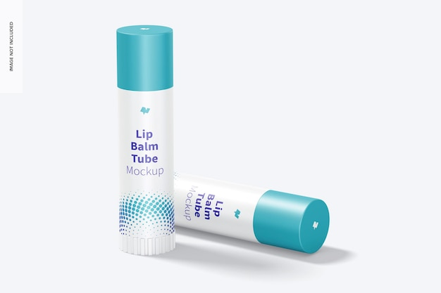 Lip balm tubes mockup, perspectief