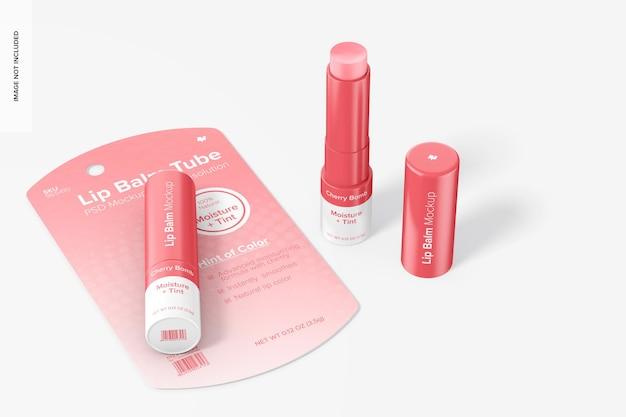 Lippenbalsembuizen op blistermodel, perspectief