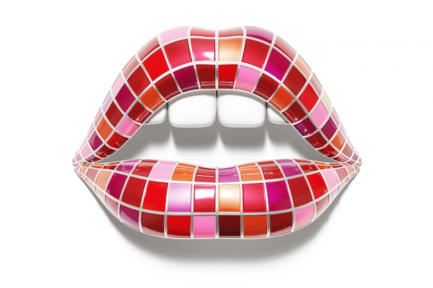 Lippenstift palet in mondvorm.