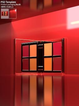Lippenstiftpalet op rode muur 3d achtergrond geeft terug