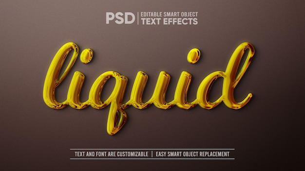 Liquid gold editable text effect maqueta de objetos inteligentes