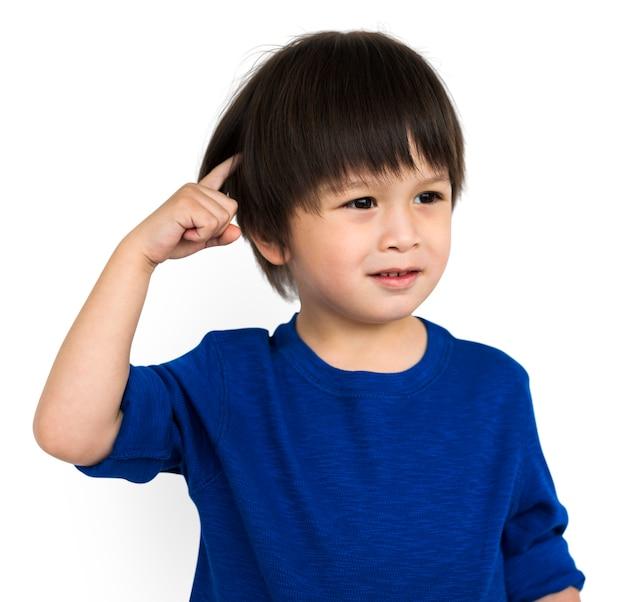 Little kid boy think curious concept