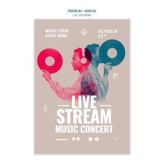 Live muziek streaming poster sjabloonontwerp
