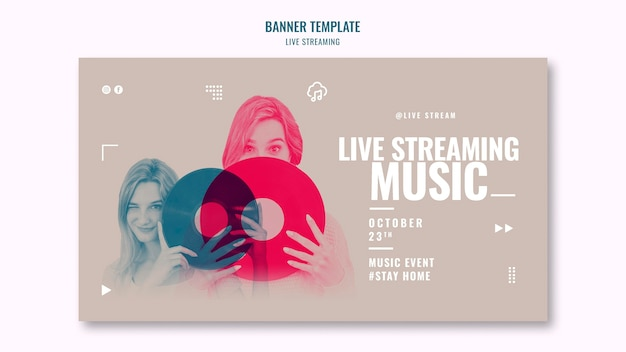 Live muziek streaming sjabloon voor spandoek