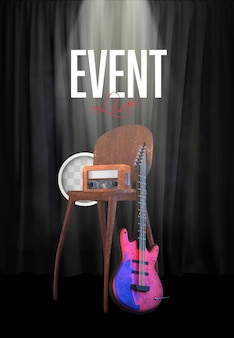 Live muziekshow. 3d-rendering
