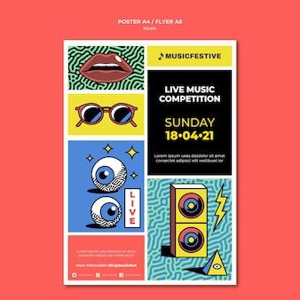 Live muziekwedstrijd flyer-sjabloon