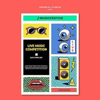 Live muziekwedstrijd poster sjabloon
