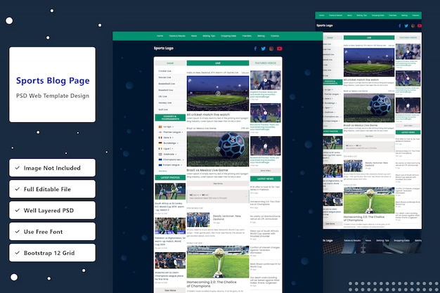 Live sports blog website bestemmingspagina ontwerp