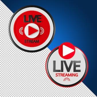 Live stream teken in 3d-rendering geïsoleerd