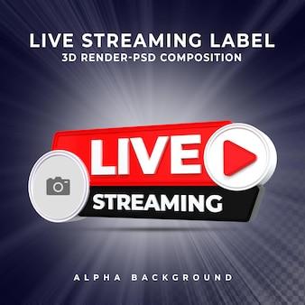 Live streaming 3d render pictogram badge banner