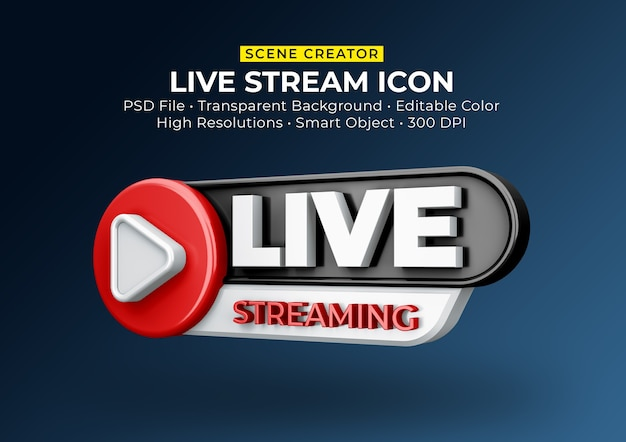 Live streaming 3d render pictogram badge geïsoleerd