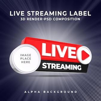 Live streaming banner pictogram profiel 3d render pictogram badge knop