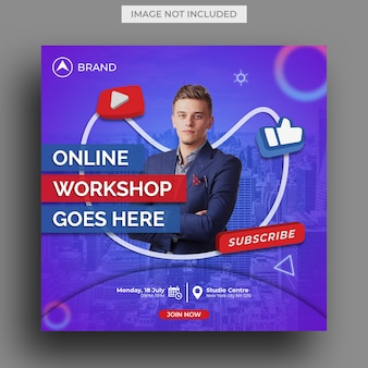 Live streaming workshop instagram postsjabloon, vierkante flyer-sjabloon