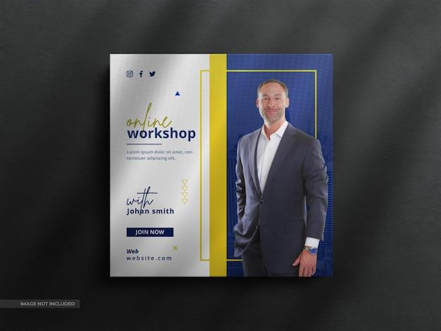 Live webinar social media post-sjabloon en instagram-banner met een schone luxe sjabloon