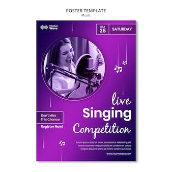 Live zangwedstrijd poster sjabloon