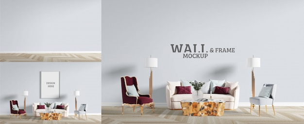 El living tiene un estilo neoclásico. maqueta de pared y marco