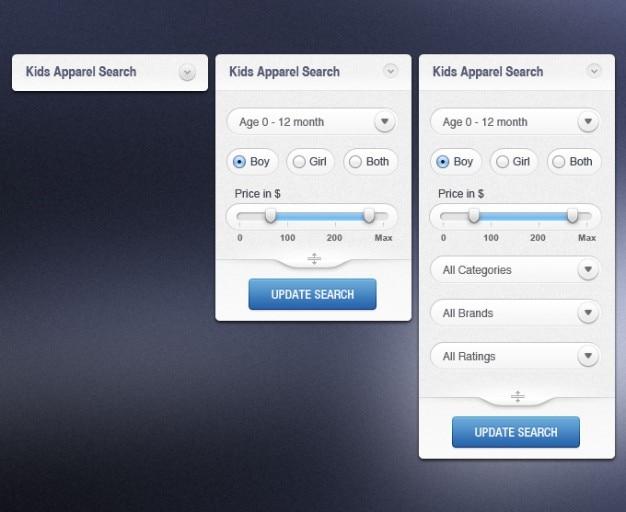 Llamada a la acción e las categorías de comercio buscador de búsqueda de resultados de búsqueda de filtro widget de corredera de filtro