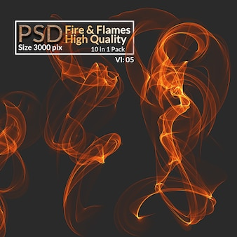 Llamas de fuego aisladas de alta resolución