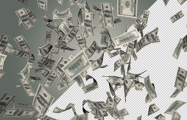 Lluvia de dinero en dólares reales - cientos de 100 dólares cayendo desde la cima