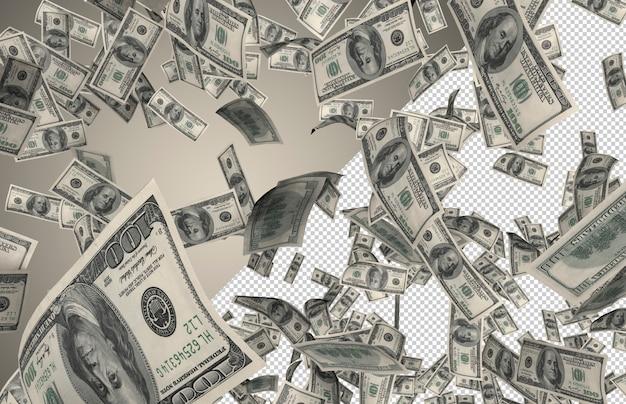 Lluvia de dinero real - cientos de 100 dólares cayendo desde la cima