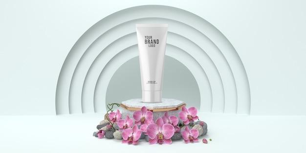 Lo studio cosmetico semplice del modello con colore bianco 3d del podio rende
