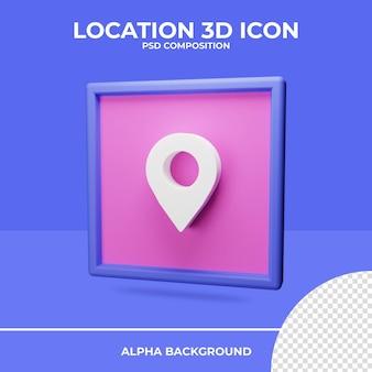 Locatie 3d-rendering pictogramweergave