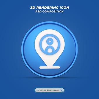 Locatie en plaatshouderpictogram in 3d-rendering
