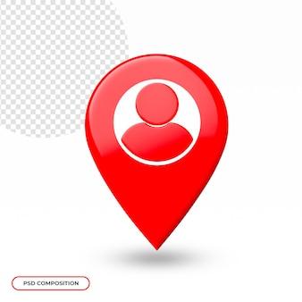 Locatie of kaartpictogram geïsoleerd in 3d-rendering