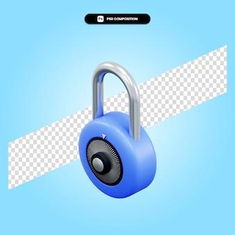 Lock 3d render illustratie geïsoleerd