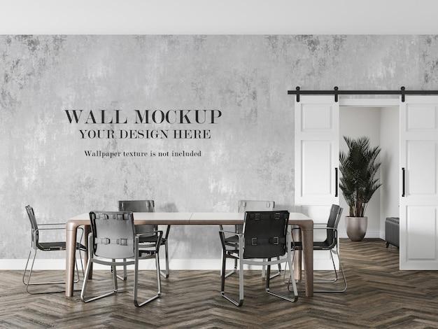 Loft-stijl eetkamer muur mockup ontwerp