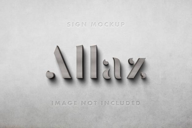 Logo 3d mockup in beton