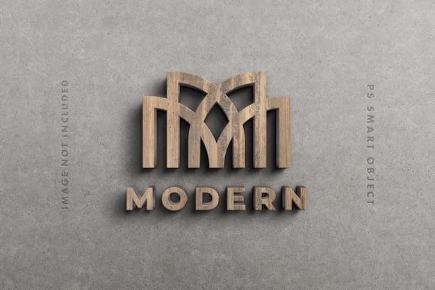Logo 3d mockup in hout