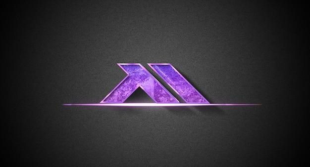 Logo 3d mockup nel muro