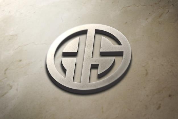 Logo 3d mockup su calcestruzzo