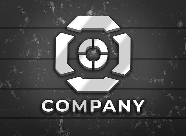Logo bedrijf mock-up met zilveren kleur op de muur