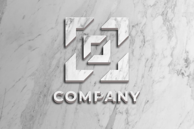 Logo bedrijfsmodel met marmeren oppervlak aan de muur