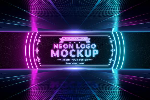 Logo di luce al neon riflettente rosa e blu
