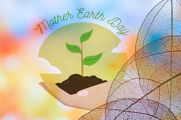 Logo del día de la tierra con hojas translúcidas