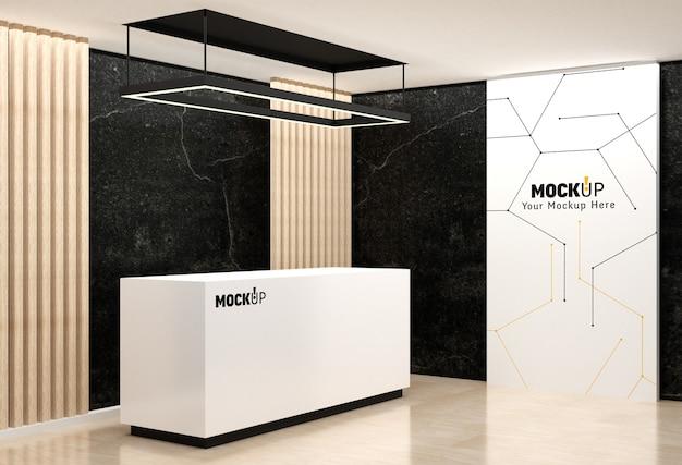 Logo e modello a parete nella sala di ricevimento