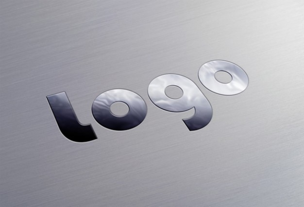 Logo con estilo metálico plantilla psd
