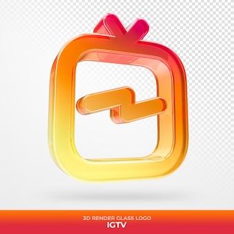 Logo igtv glas acryl met transparante 3d render