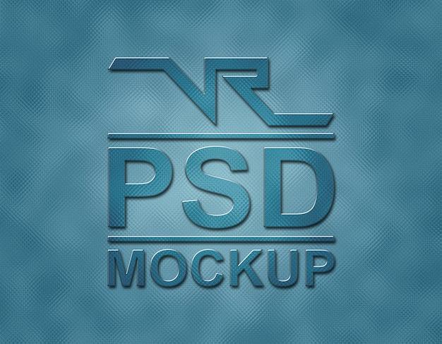 Logo in vetro mockup con flash blu carbone