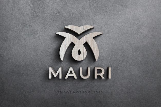 Logo maqueta 3d en madera