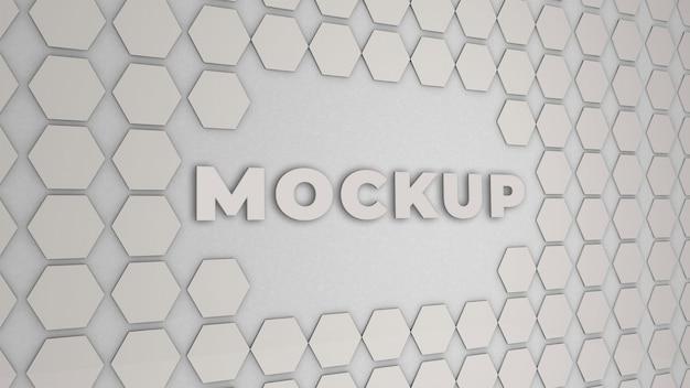 Logo maqueta oficina pared 3d premium