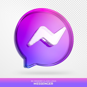 Logo messenger glas acryl met transparante 3d render