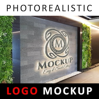 Logo mock-up - 3d concrete signage-logo op kantoormuur of hal
