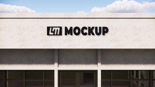 Logo mock-up 3d op een muur