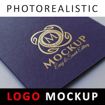 Logo mock up - letterpress logo estampado de foil dorado