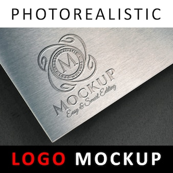 Logo mock up - logotipo estampado en relieve en metal