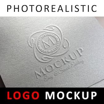 Logo mock up - logotipo en relieve en papel